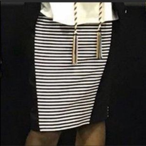 Attention Black Striped Pencil Skirt